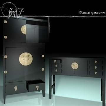 chinese cabinet closet 3d model 3ds dxf c4d obj 109186