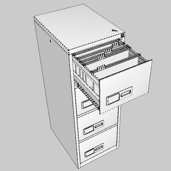 filing cabinet 3d model 3ds fbx skp obj 117773