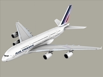 airbus a380 air france 3d model 3ds max obj 95578