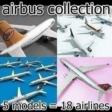 airbus collection 3d model 3ds lwo 78993