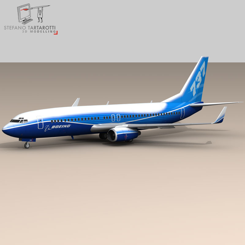 boeing 737-800 3d model 3ds dxf c4d obj 94883