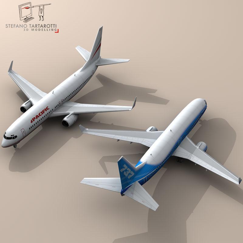 boeing 737-800 3d model 3ds dxf c4d obj 94884