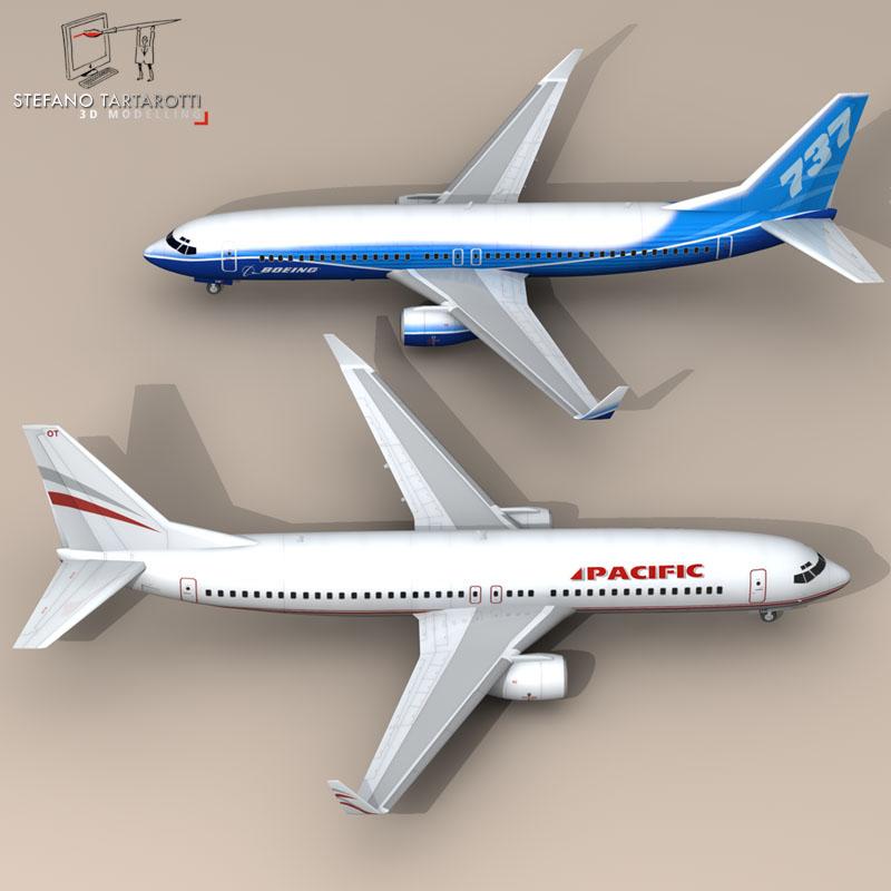 boeing 737-800 3d model 3ds dxf c4d obj 94885