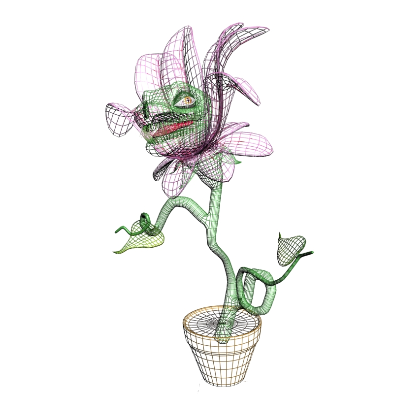 carnivorous plant character rigged 3d model 3ds max fbx lwo obj 121007