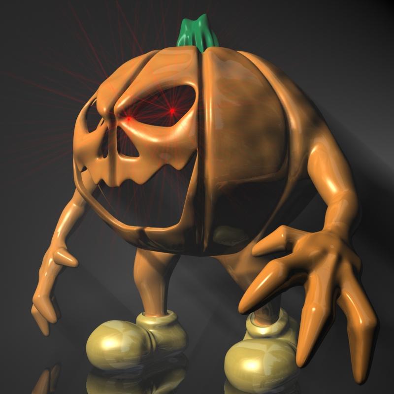 halloween jack o lantern character rigged 3d model 3ds max fbx lwo obj 119486