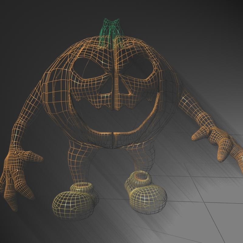 halloween jack o lantern character rigged 3d model 3ds max fbx lwo obj 119488