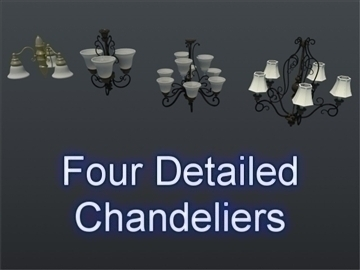 chandelier set 001 3d model 3ds max mb mb 102130