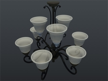 nine light uf traditional chandelier 3d model 3ds max ma mb 102147