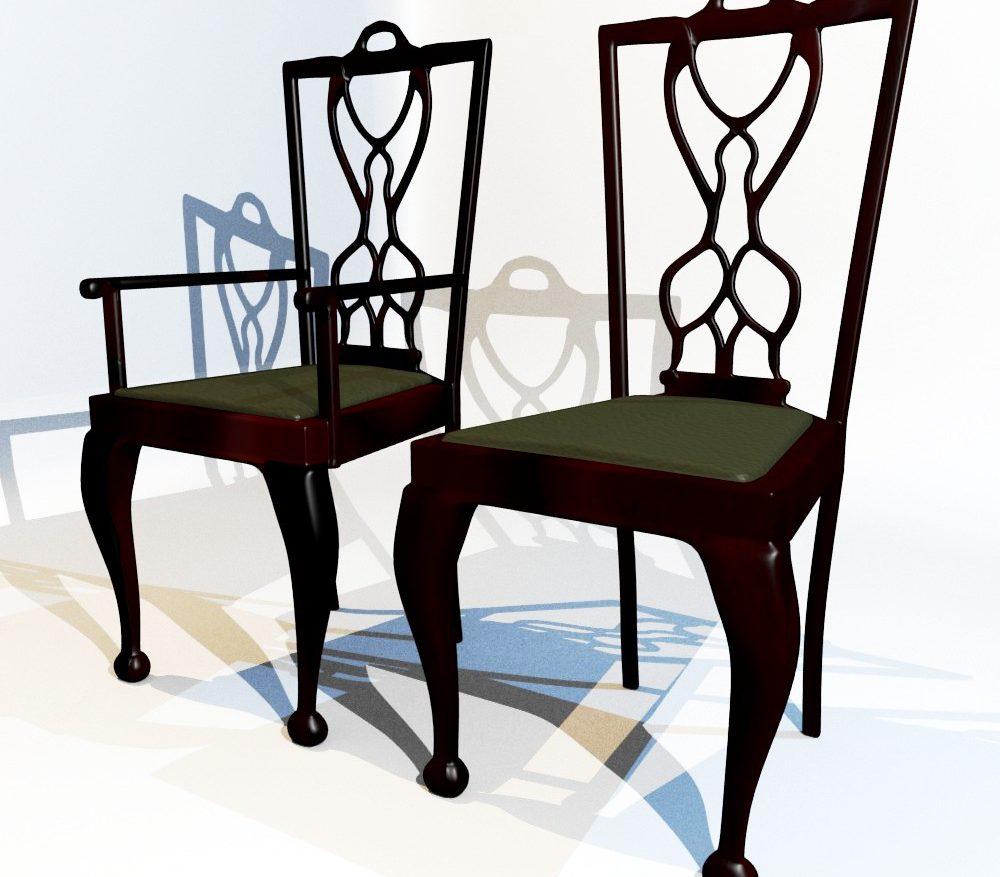 3D Model Dining Chair set ( 134.43KB jpg by forestdino )
