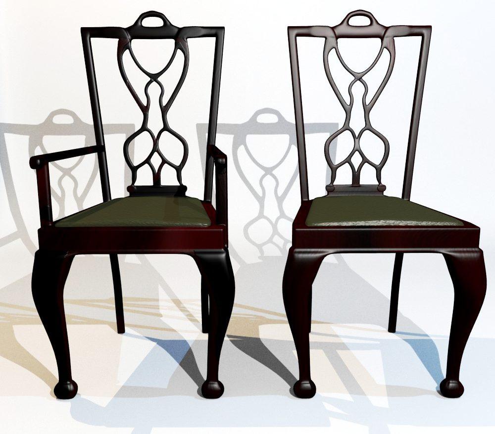 3D Model Dining Chair set ( 139.78KB jpg by forestdino )