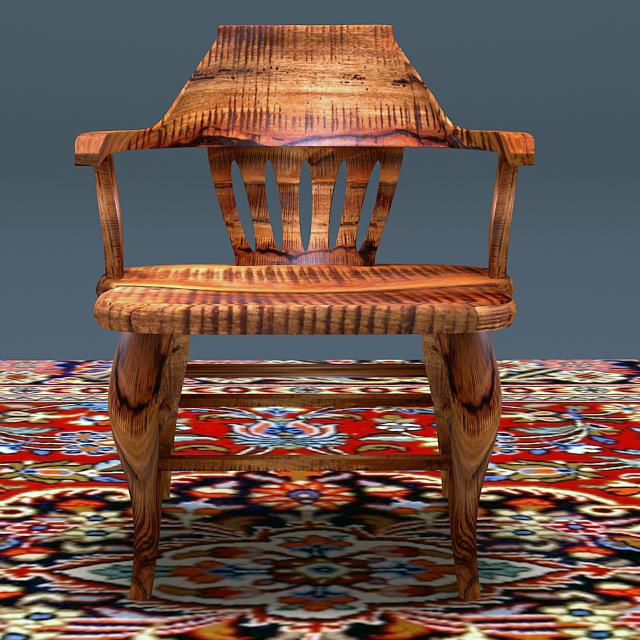 antique elm wood chair 3d model max 153959