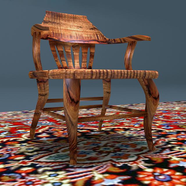 antique elm wood chair 3d model max 153961