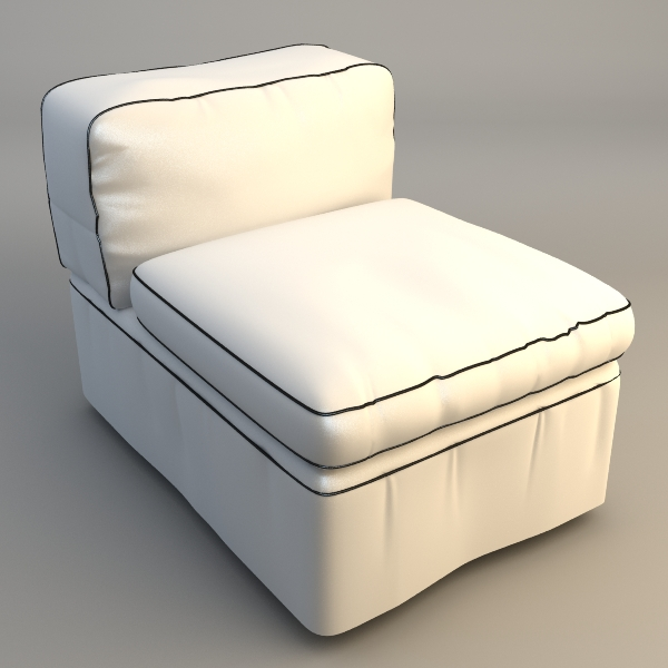 armless upholstered chair 3d model 3ds max fbx obj 114818
