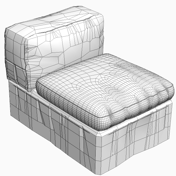 armless upholstered chair 3d model 3ds max fbx obj 114822