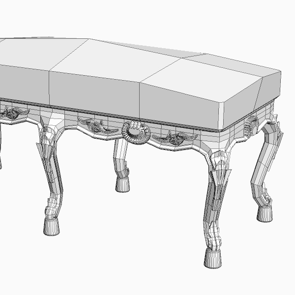 baroque style bench 3d model 3ds max fbx texture obj 115028