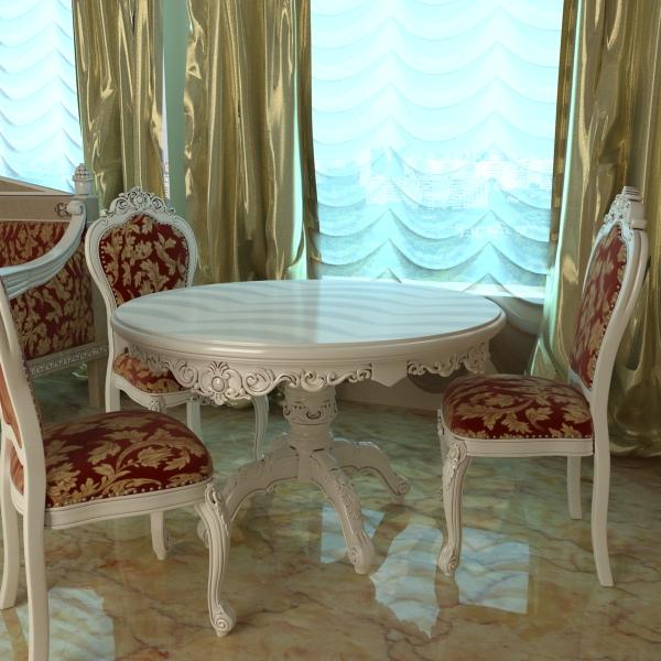 barokk stílusú asztal és székek 3d modell 3ds max textúra obj 120912