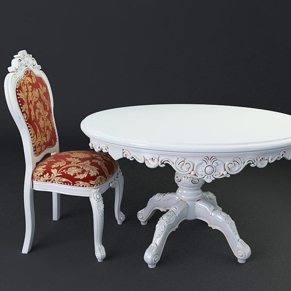 baroque style table and chairs 3d model 3ds max texture obj 120913