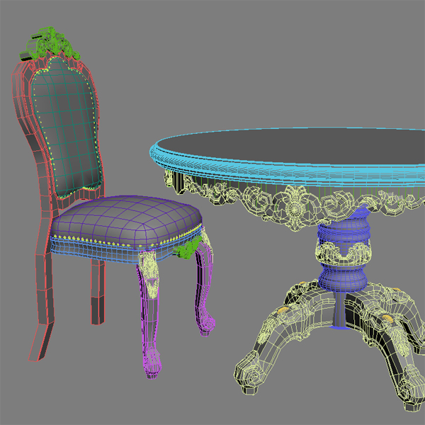 baroque style table and chairs 3d model 3ds max texture obj 120918