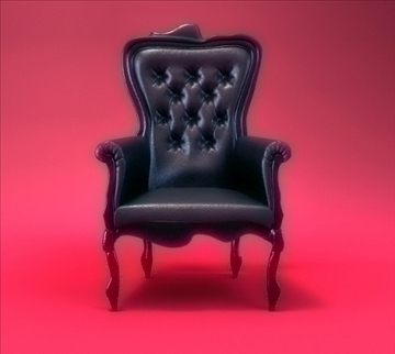 black armchair 3d model lwo 79347