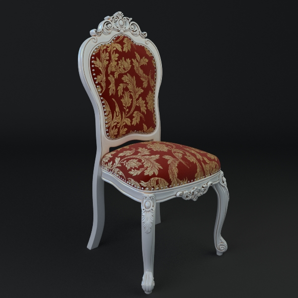 chair ornate antique armless 3d model 3ds max fbx texture obj 117017