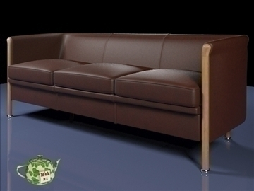 club sofa 3 p 2009 3d model 3ds max fbx obj 92276