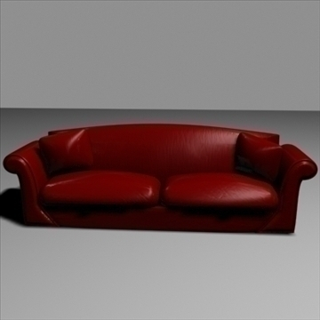 Dark Red Leather Sofa 3D Model - FlatPyramid