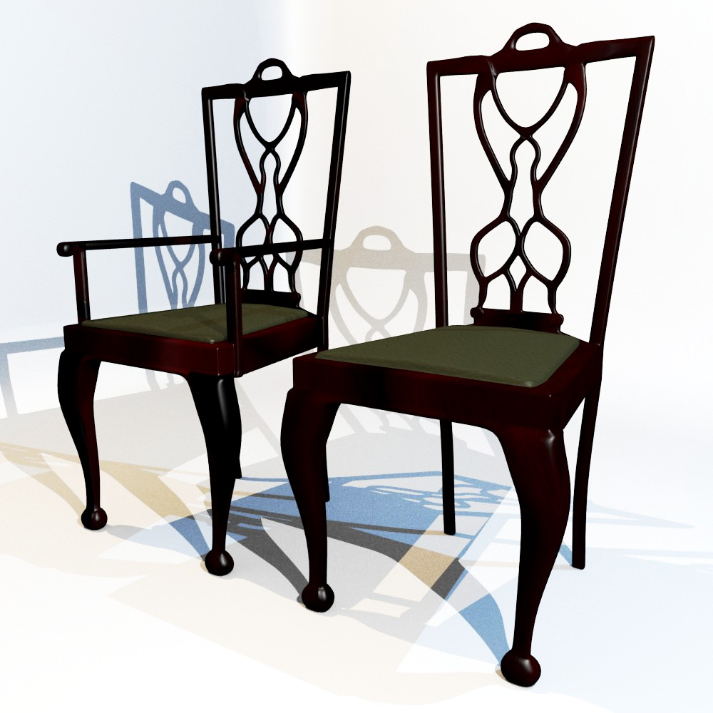 dining chair set 3d model fbx blend dae obj 118642