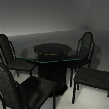 ēdamistabas stikla galds un krēsli 3d modelis ma mb 81444