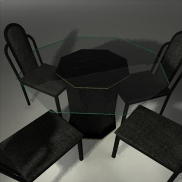 dining room glass table and chairs 3d model ma mb 81445