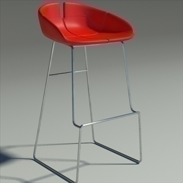 fjord bar stool high red 3d model 3ds max dwg fbx obj 88555