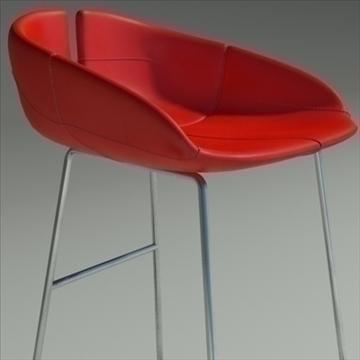 fjord bar stool high red 3d model 3ds max dwg fbx obj 88558