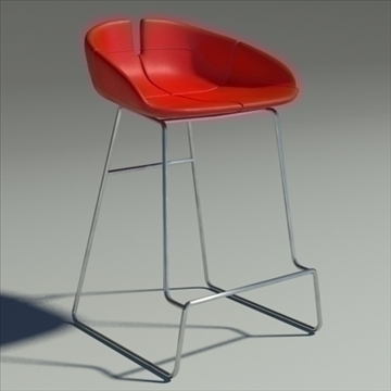 fjord bar stool low red 3d model 3ds max dwg fbx obj 88540