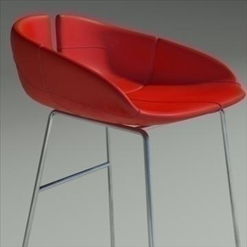 fjord bar stool low red 3d model 3ds max dwg fbx obj 88543