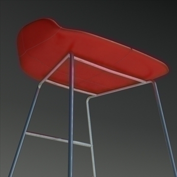 fjord bar stool low red 3d model 3ds max dwg fbx obj 88544