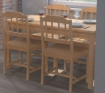 kitchen table and chairs 3d model 112280