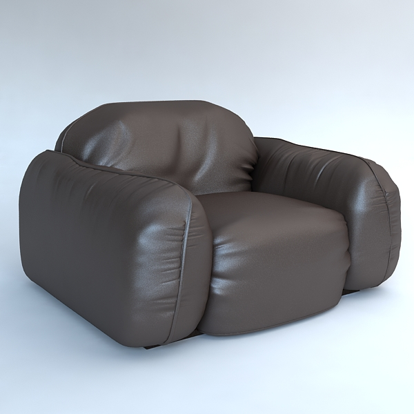 leather armchair piumotto busnelli italy 3d model 3ds max fbx obj 120798