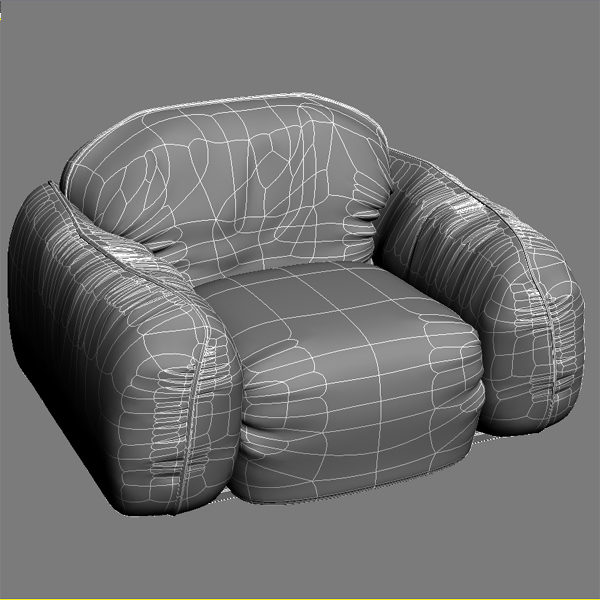 leather armchair piumotto busnelli italy 3d model 3ds max fbx obj 120803