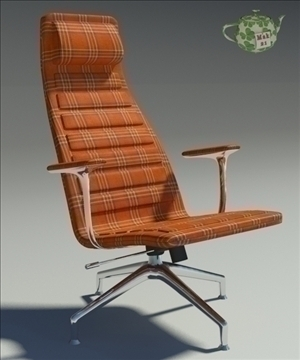 lotus orange fabric armchair 3d model 3ds max fbx obj 109876