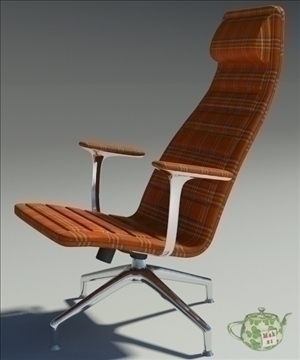 lotus orange fabric armchair 3d model 3ds max fbx obj 109877