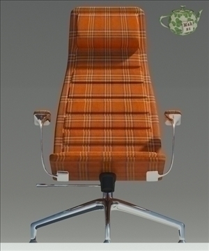 lotus orange fabric armchair 3d model 3ds max fbx obj 109878
