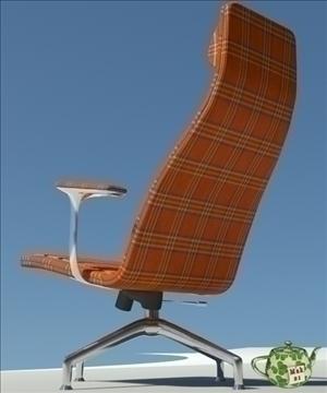 lotus orange fabric armchair 3d model 3ds max fbx obj 109879