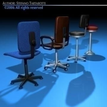 office chairs collection 3d model 3ds dxf c4d obj 78232