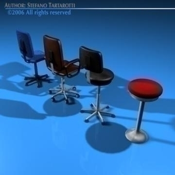 office chairs collection 3d model 3ds dxf c4d obj 78233