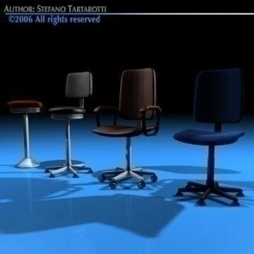 office chairs collection 3d model 3ds dxf c4d obj 78234