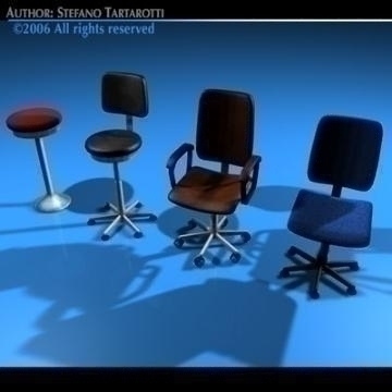 office chairs collection 3d model 3ds dxf c4d obj 78235