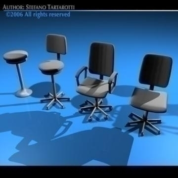 office chairs collection 3d model 3ds dxf c4d obj 78236