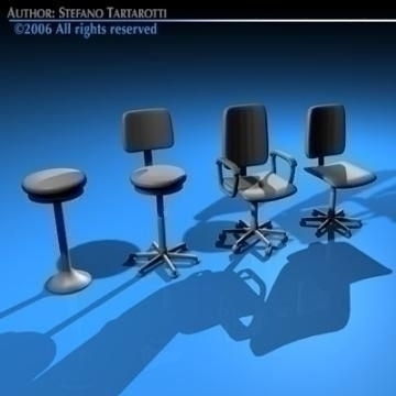 office chairs collection 3d model 3ds dxf c4d obj 78237