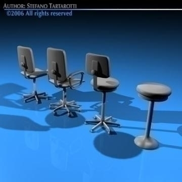 office chairs collection 3d model 3ds dxf c4d obj 78238