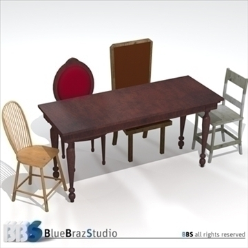 table and chairs 3d model 3ds dxf c4d obj 106987