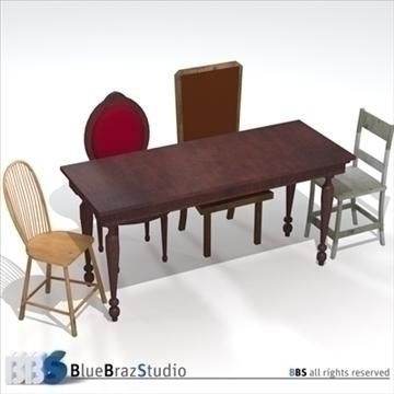 galds un krēsli 3d modelis 3ds dxf c4d obj 106987